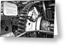 Turning Gear Engine Room Queen Mary Bw Greeting Card