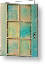 Turquoise And Pale Yellow Panel Door Greeting Card