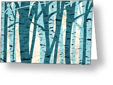 Turquoise Birch Trees Greeting Card