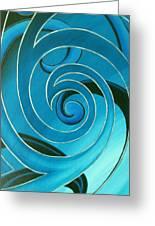 Turquoise Glass Koru Greeting Card