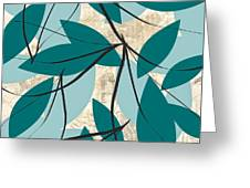 Turquoise Leaves Greeting Card