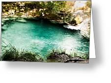 Turquoise River Waterfall And Pond Greeting Card