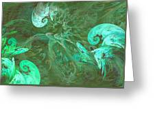 Turquoise Turbulance Greeting Card by Minnie W Shuler