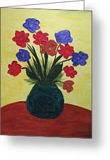 Turquoise Vase On Yellow Greeting Card