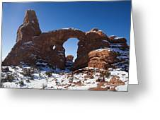 Turret Arch With Snow Arches National Park Utah Greeting Card