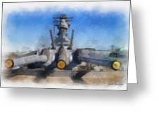 Turrets 1 And 2 Uss Iowa Battleship Photo Art 01 Greeting Card