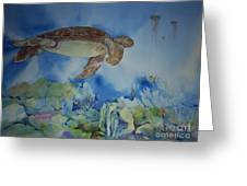 Turtle And Jelly Fish Greeting Card