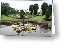 Turtle Fountian And Garden Chateau De Cormatin Greeting Card