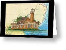 Turtle Rock Lighthouse Pa Chart Map Art  Greeting Card