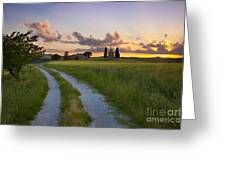 Tuscan Sunset Greeting Card by Brian Jannsen