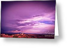 Tuscania Village With Approaching Storm  Italy Greeting Card