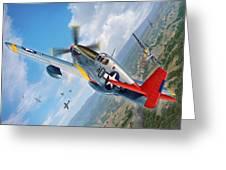 Tuskegee Airmen P-51 Mustang Greeting Card by Stu Shepherd