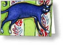 Tuxedo Cat On A Cushion Greeting Card