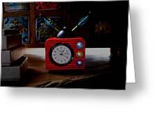 Tv Clock Greeting Card