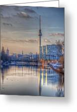 Tv Tower Sunset Greeting Card