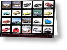 Twenty Corvettes Greeting Card
