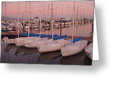 Twilight At The Harbor Greeting Card