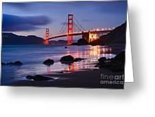 Twilight - Beautiful Sunset View Of The Golden Gate Bridge From Marshalls Beach. Greeting Card