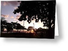 Twilight In Santos Beach Park Greeting Card