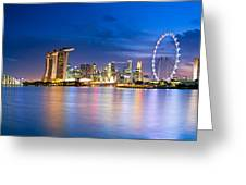 Twilight In Singapore Greeting Card by Ulrich Schade