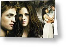 Twilight  Kristen Stewart And Robert Pattinson Artwork 1 Greeting Card