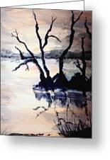 Twilight Lake Sunset Greeting Card