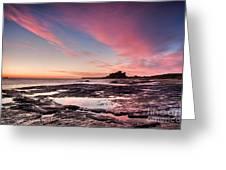 Twilight On Harkness Rocks Bamburgh Greeting Card