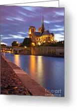 Twilight Over Notre Dame Greeting Card