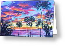 Twilight Palms Greeting Card