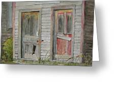 Twin Doors In Watercol Greeting Card