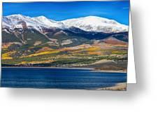 Twin Lakes Colorado Autumn Panorama Greeting Card