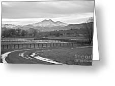 Twin Peaks Mt Meeker And Longs Peak Bw Country Greeting Card