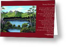 Twin Ponds And 23 Psalm On Red Horizontal  Greeting Card