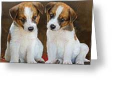 Twin Puppies Portrait Greeting Card