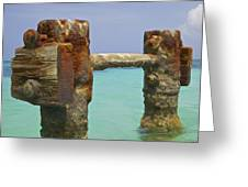 Twin Rusted Dock Piers Of The Caribbean Greeting Card