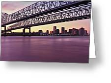 Twins Bridge Over A River, Crescent Greeting Card