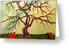 Twisted Tree And Roses Greeting Card