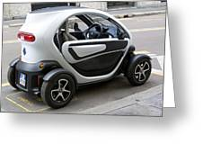 Twizy Rental Electric Car Side And Back Milan Italy Greeting Card