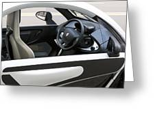 Twizy Rental Electric Car Side And Interior Milan Italy Greeting Card