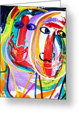 Two Abstract Faces Greeting Card