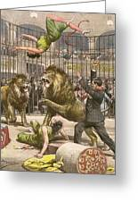 Two Acrobats Fall Into The  Lions' Greeting Card