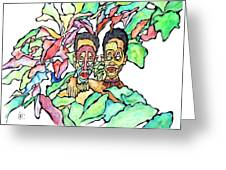 Two African Men In Leaves Greeting Card