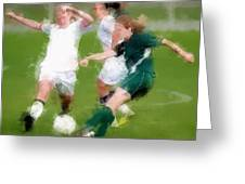 Two Against One Expressionist Soccer Battle  Greeting Card