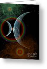 Two Alien Planets In A Distant Part Greeting Card