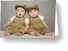 Two Babies In Matching Hat And Overalls Greeting Card
