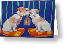 Two Border Terriers Together Greeting Card