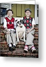 Two Boys And Their Dog Greeting Card