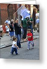 Two Boys Having Some Fun At The 200th Anniversary Of St. Patrick Old Cathedral Greeting Card