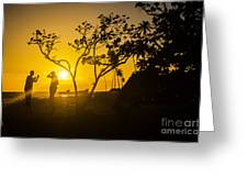 Two Boys Silhouette In Spectacular Golden Sunset  Greeting Card