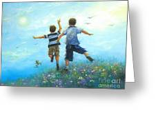 Two Brothers Leaping Greeting Card